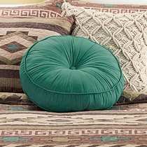 Round Blue Tufted Pillow