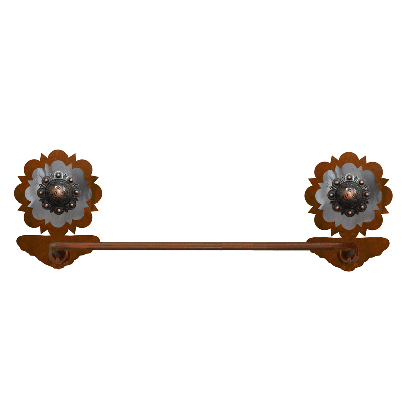 Round Copper Berry Hand Towel Bar - Rust