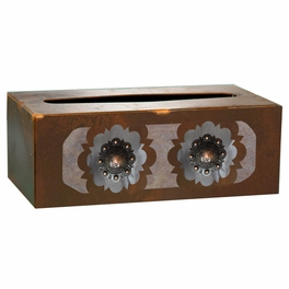 Round Copper Concho Rectangle Tissue Box Cover