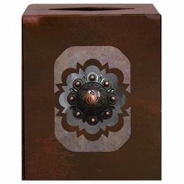 Round Copper Concho Square Tissue Box Cover