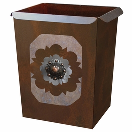 Round Copper Concho Waste Basket