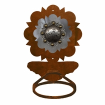 Round Old Silver Berry Towel Ring - Rust
