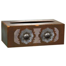 Round Silver Concho Rectangle Tissue Box Cover