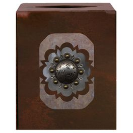 Round Silver Concho Square Tissue Box Cover