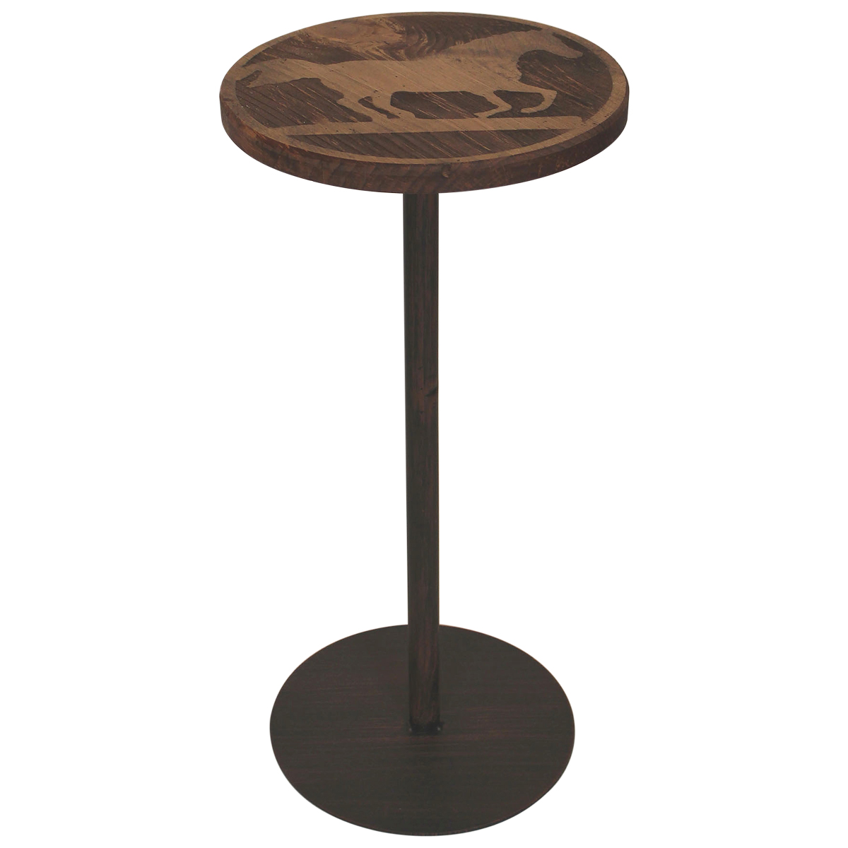Round Wood Running Horse Drink Table