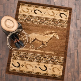 Running Horse & Horseshoes Rug Collection