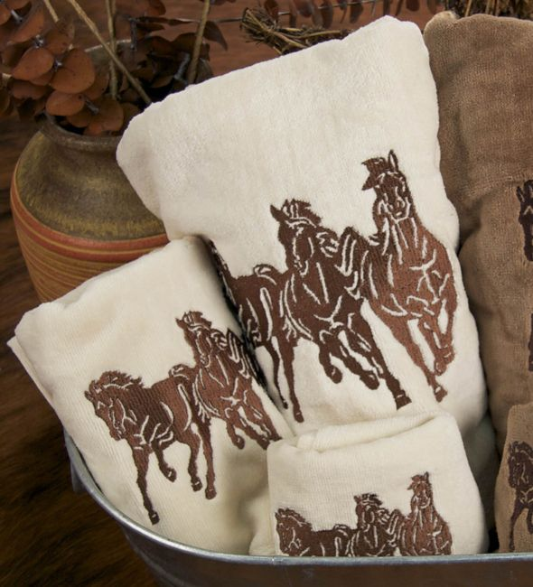 Running Horse Cream Towel Set (3 pcs)