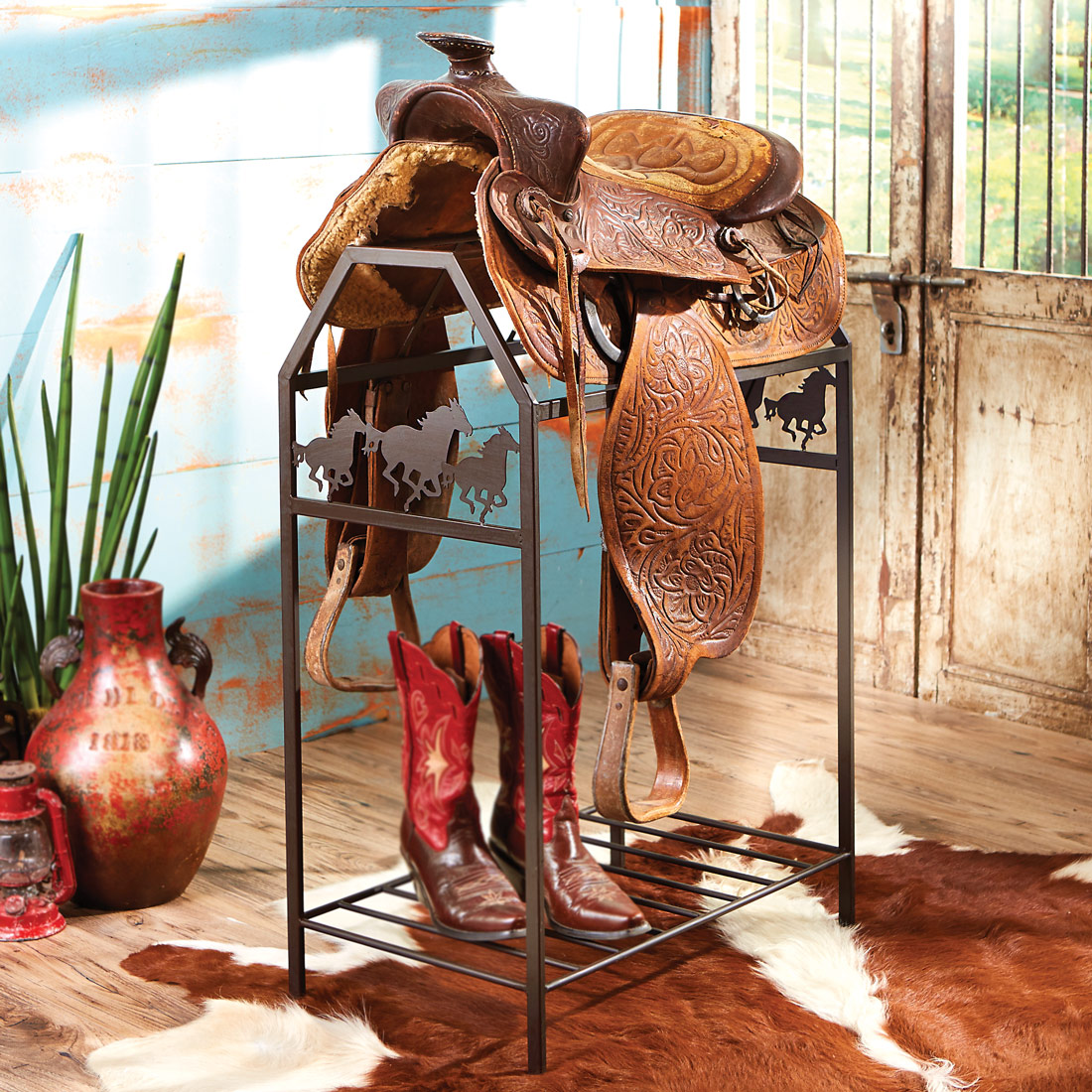 Running Horses Metal Saddle Stand