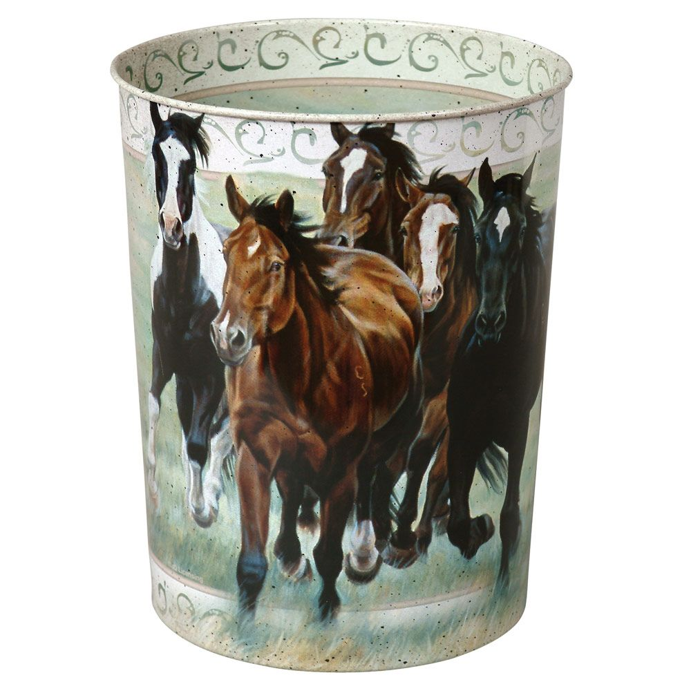 Running Horses Tin Waste Basket