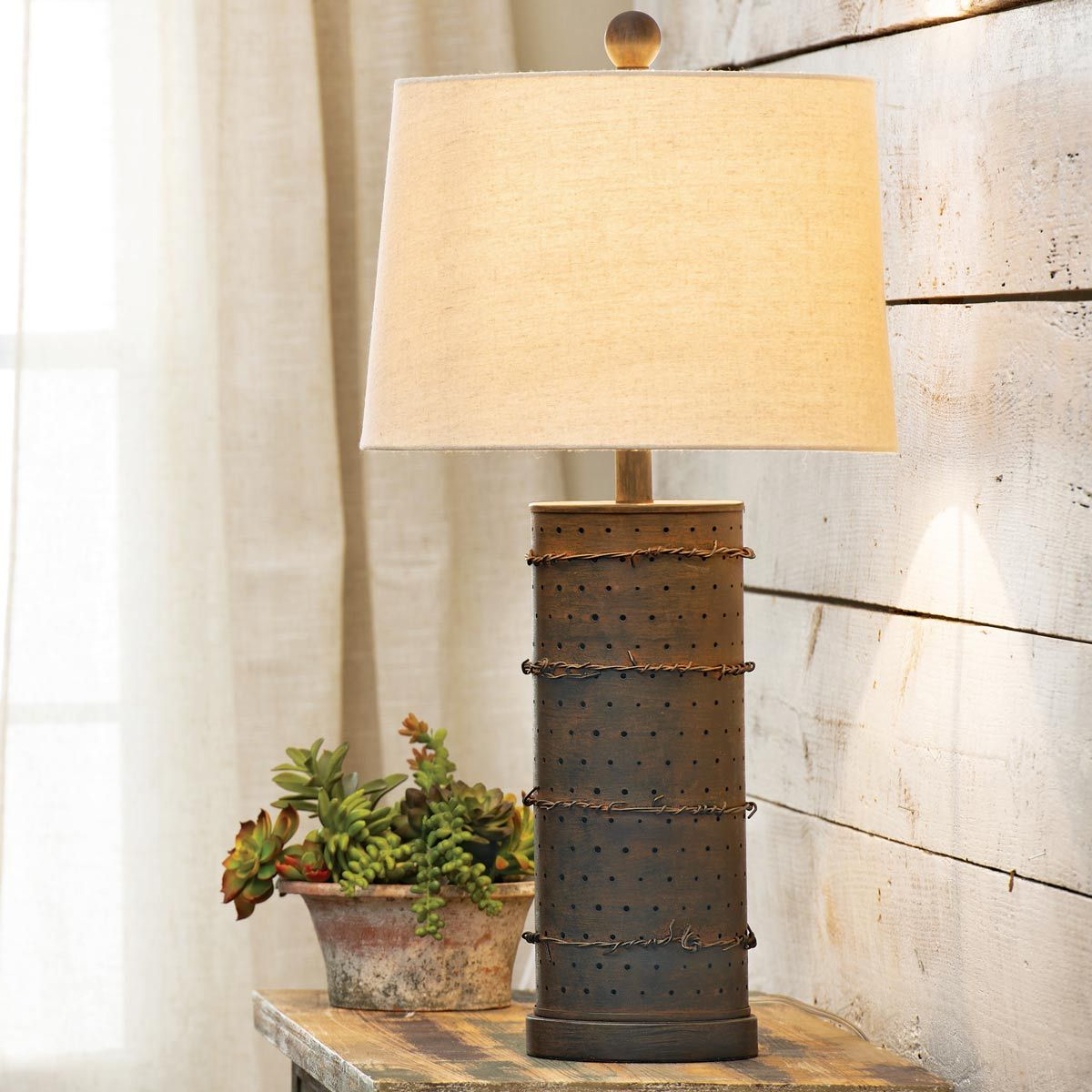 Stupendous Rustic Lamps Rusted Barbed Wire Table Lamp With Nightlight Wiring Database Obenzyuccorg