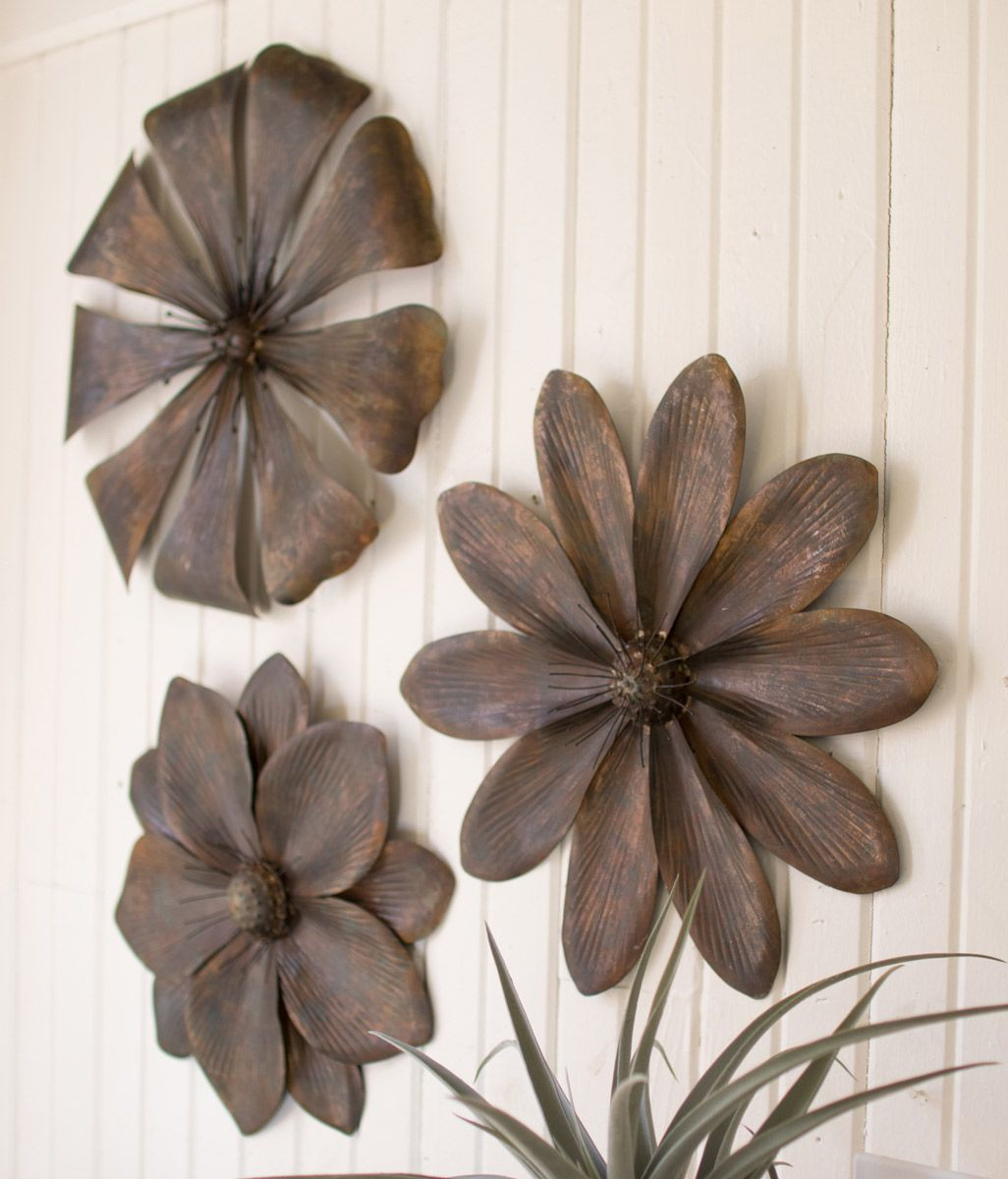 Rusted Flower Wall Art - Set of 3