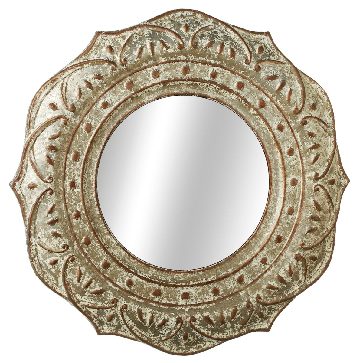 Rusted Medallion Wall Mirror