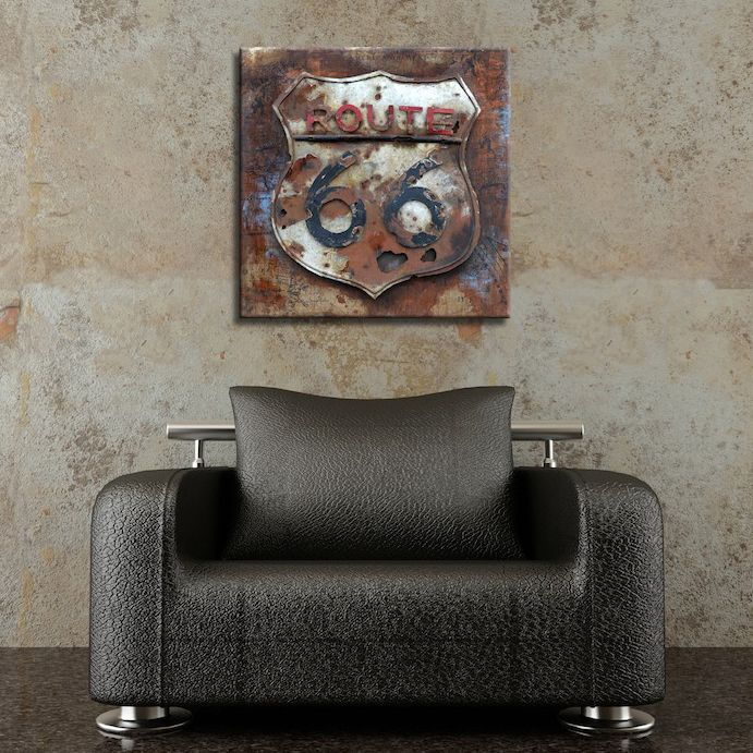 Rusted Route 66 Metal Wall Art