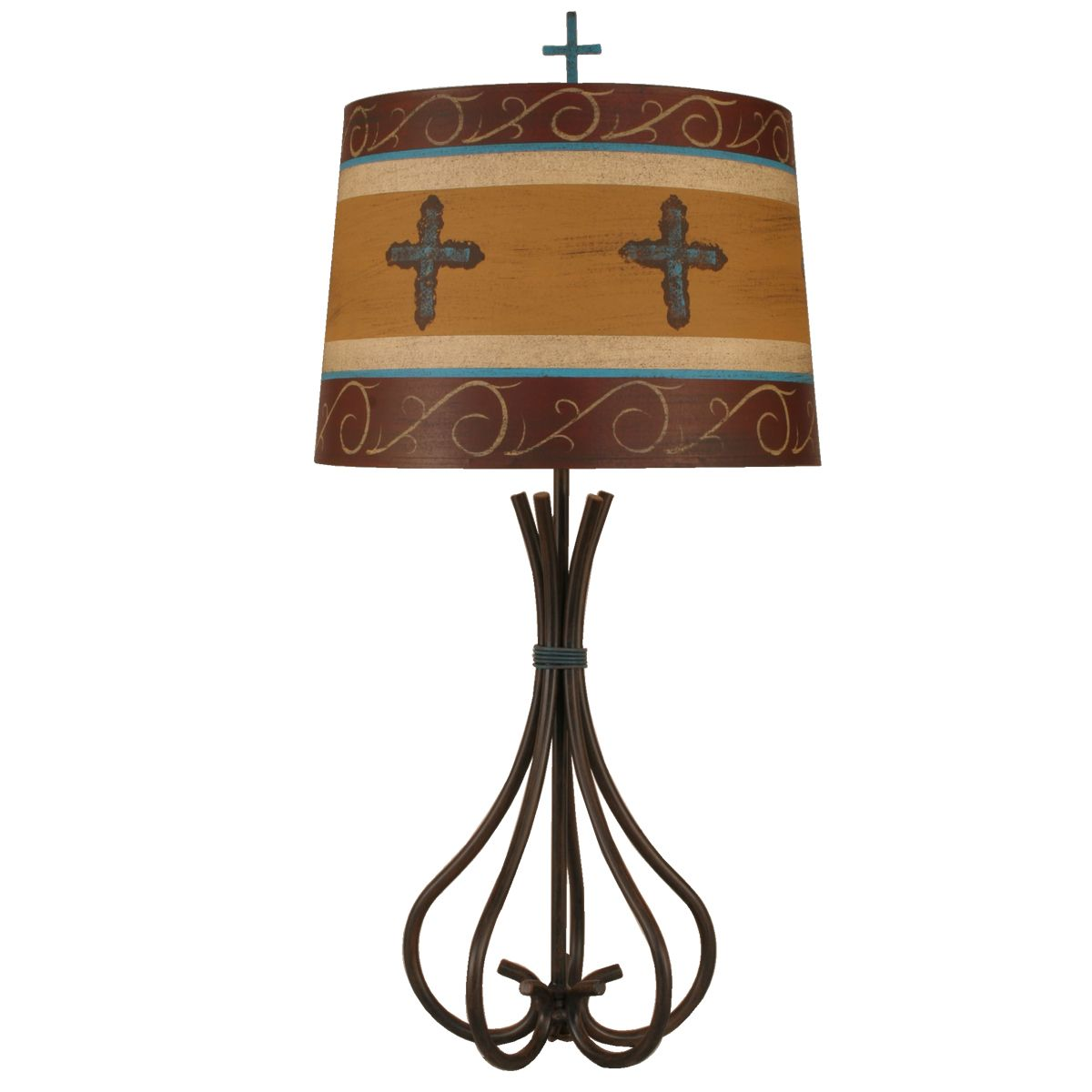 Rusted Steel 5 Rod Table Lamp with Cross Shade