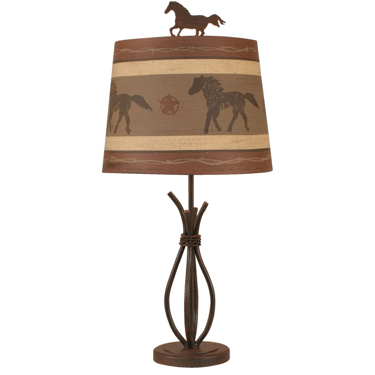 Rusted Steel Accent Lamp with Galloping Horse Shade