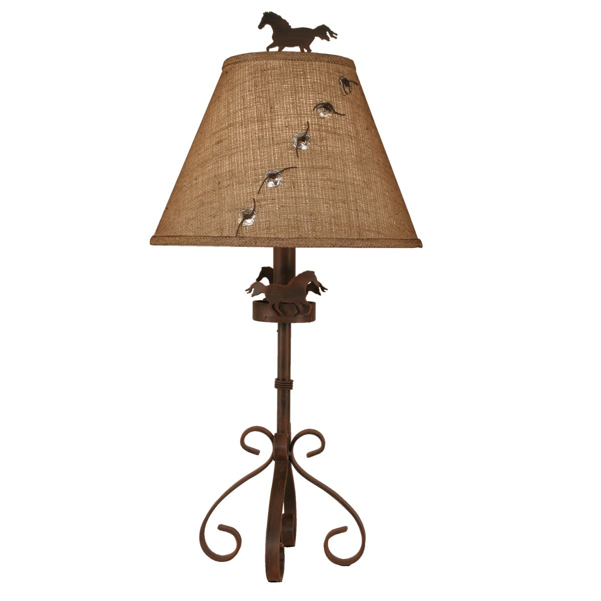 Rusted Steel Curved Leg Table Lamp with Horse Accent