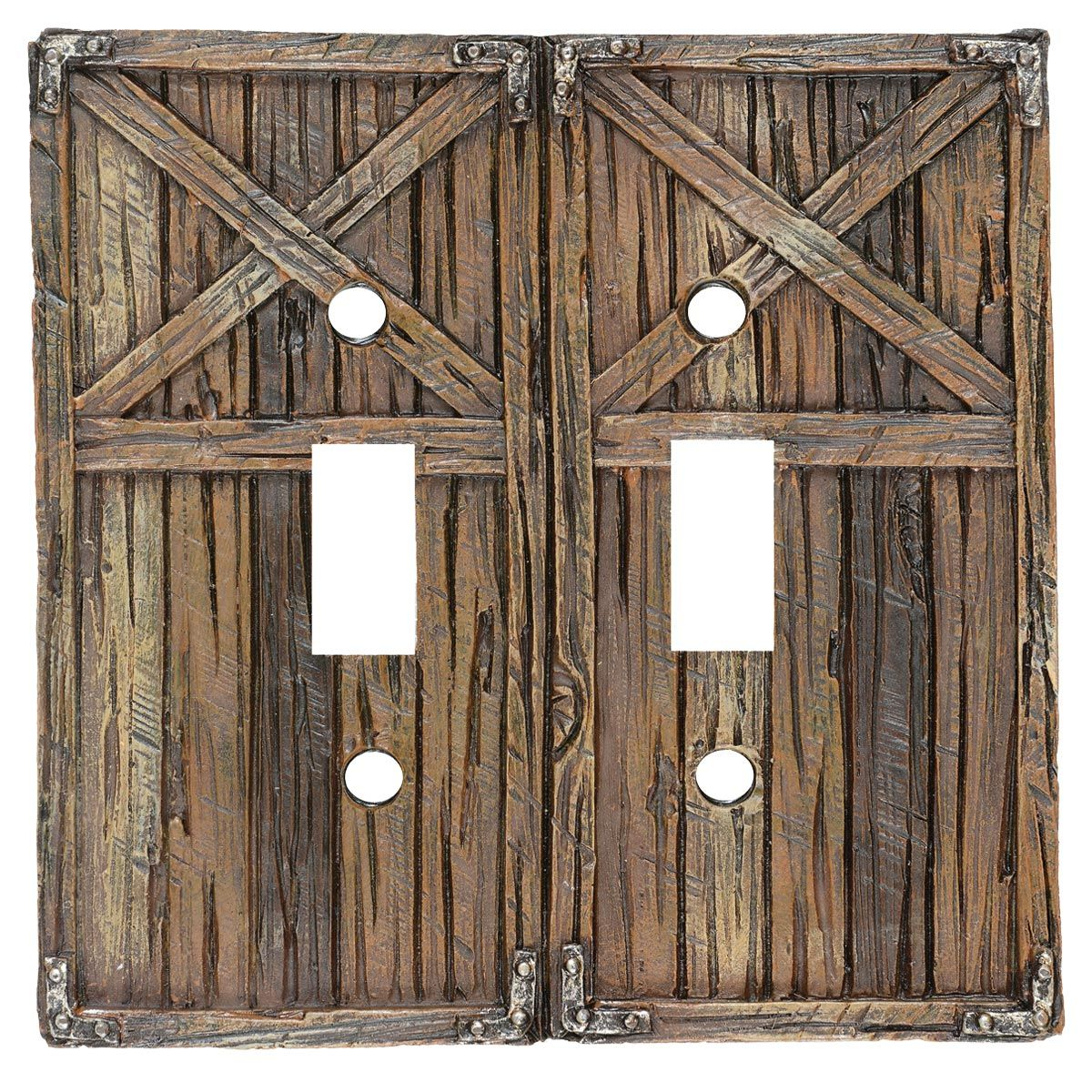 Rustic Barn Door Double Switch Cover