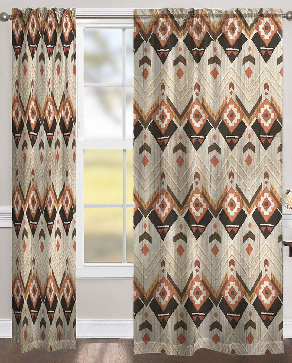 Rustic Chevron Room Darkening Window Panel - 84 Inch