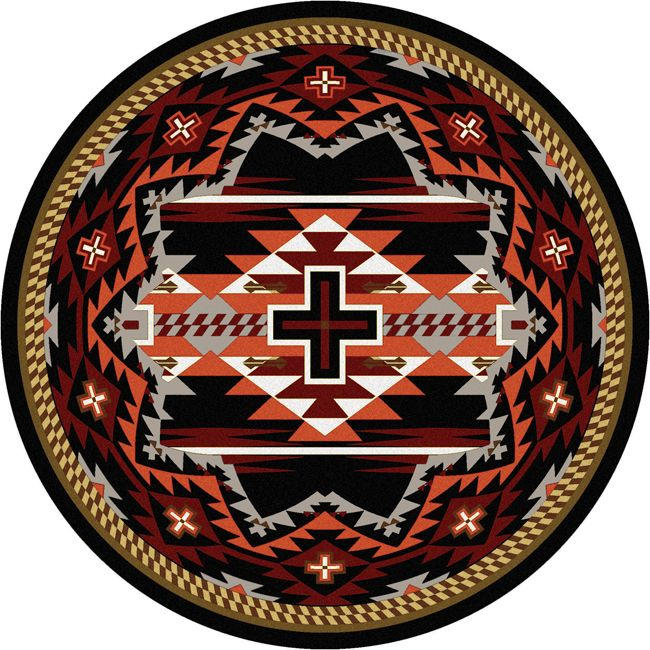 Rustic Cross Black Southwestern Rug - 8 Foot Round