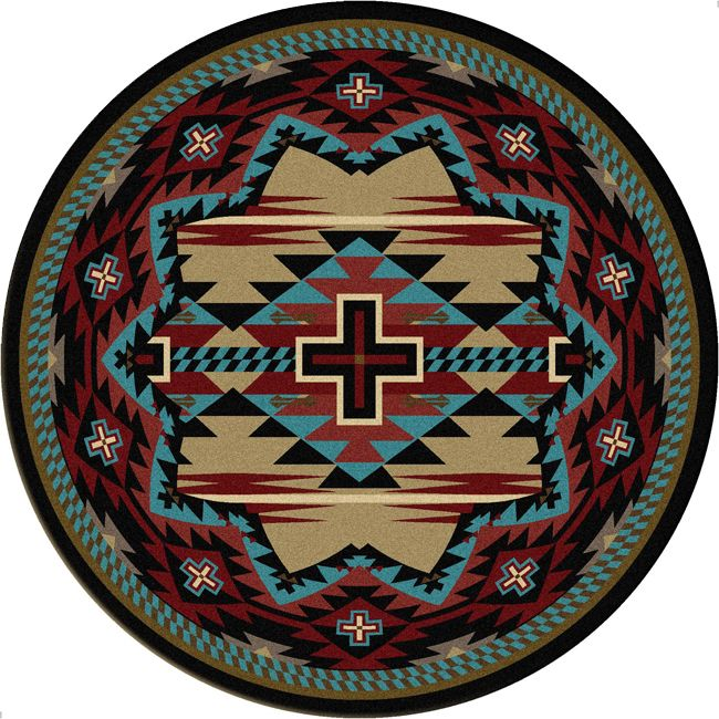 Rustic Cross Blue Southwestern Rug - 8 Ft. Round