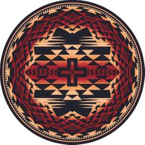 Rustic Cross Burnt Red Rug - 8 Ft. Round