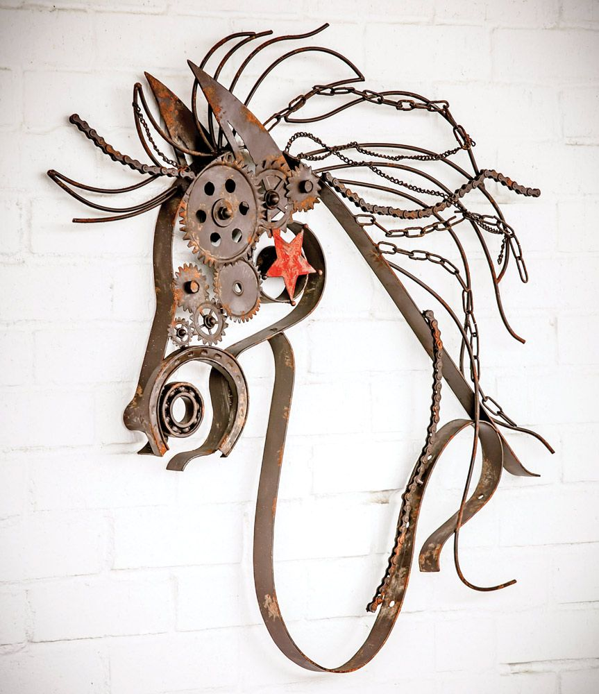 Rustic Metal Horse with Bike Chain