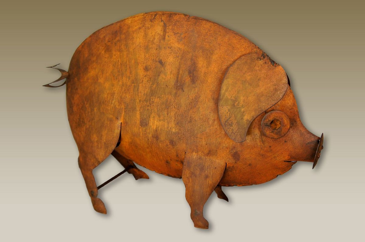 Rustic Metal Pig - Small