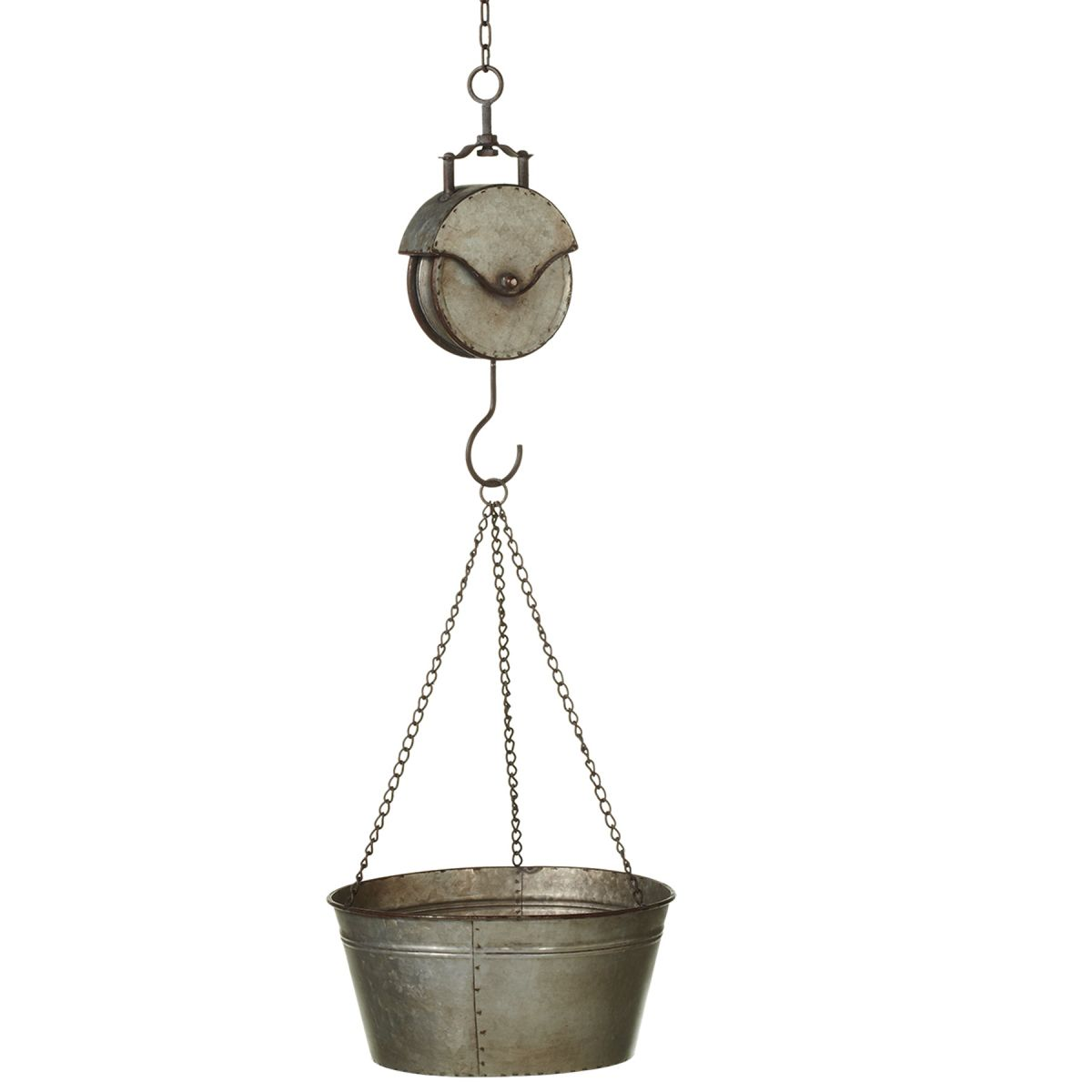 Rustic Pail and Pully Planter