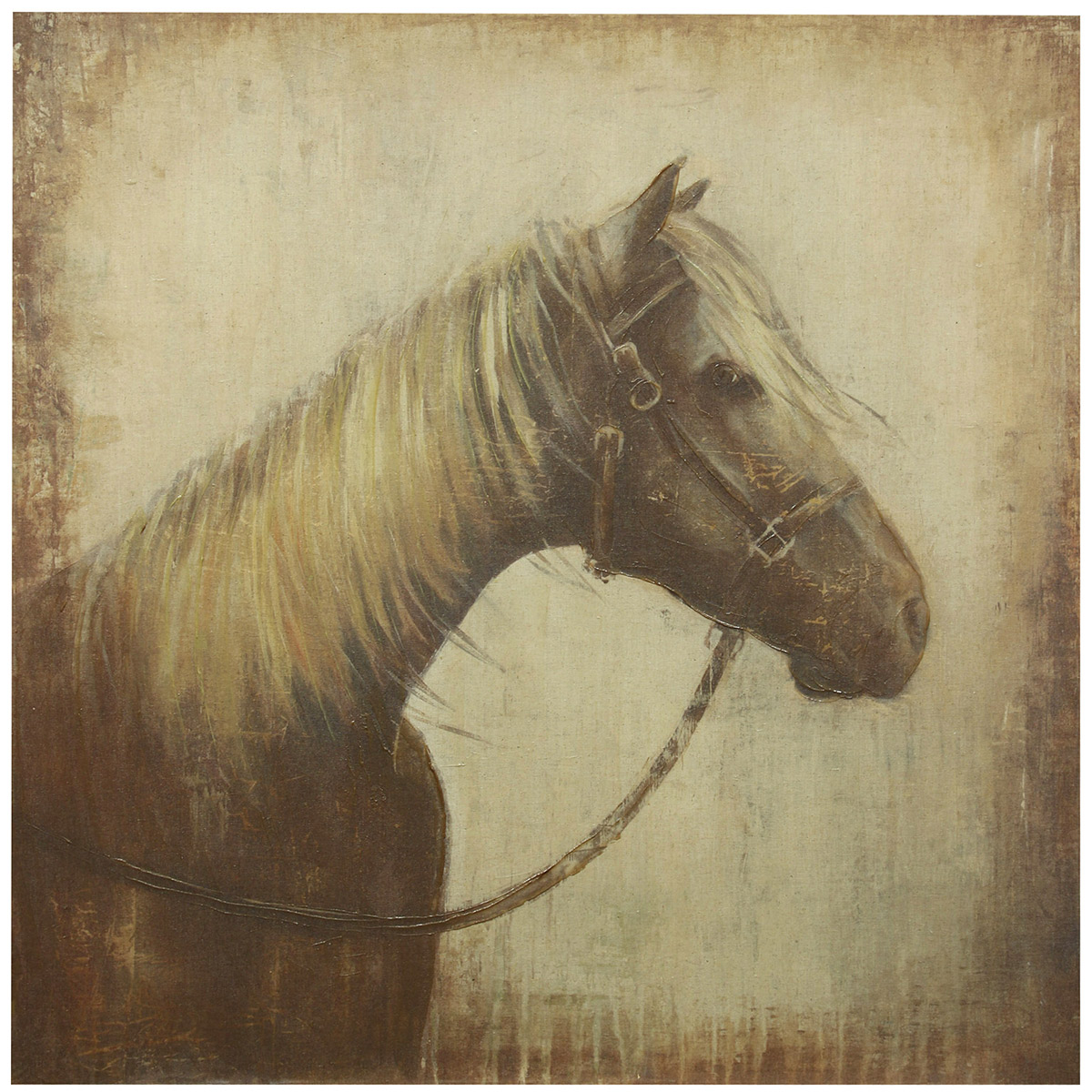 Rustic Sepia Horse Canvas Wall Art
