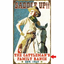 Saddle Up Personalized Sign - 14 x 24