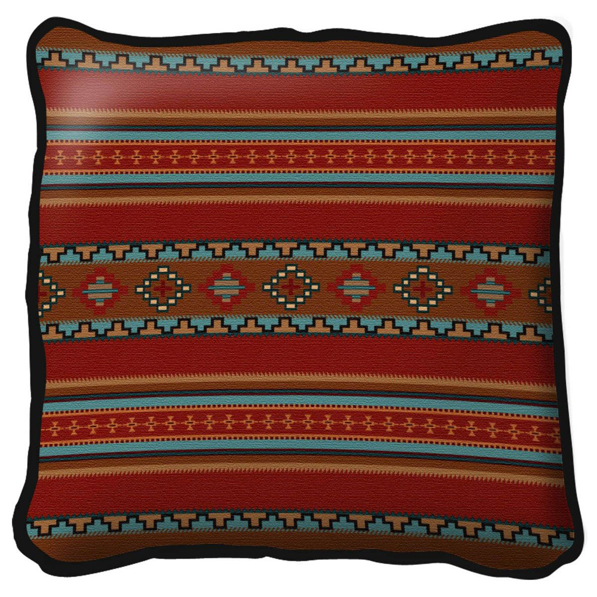 Saddleblanket Red Pillow - 17 x 17