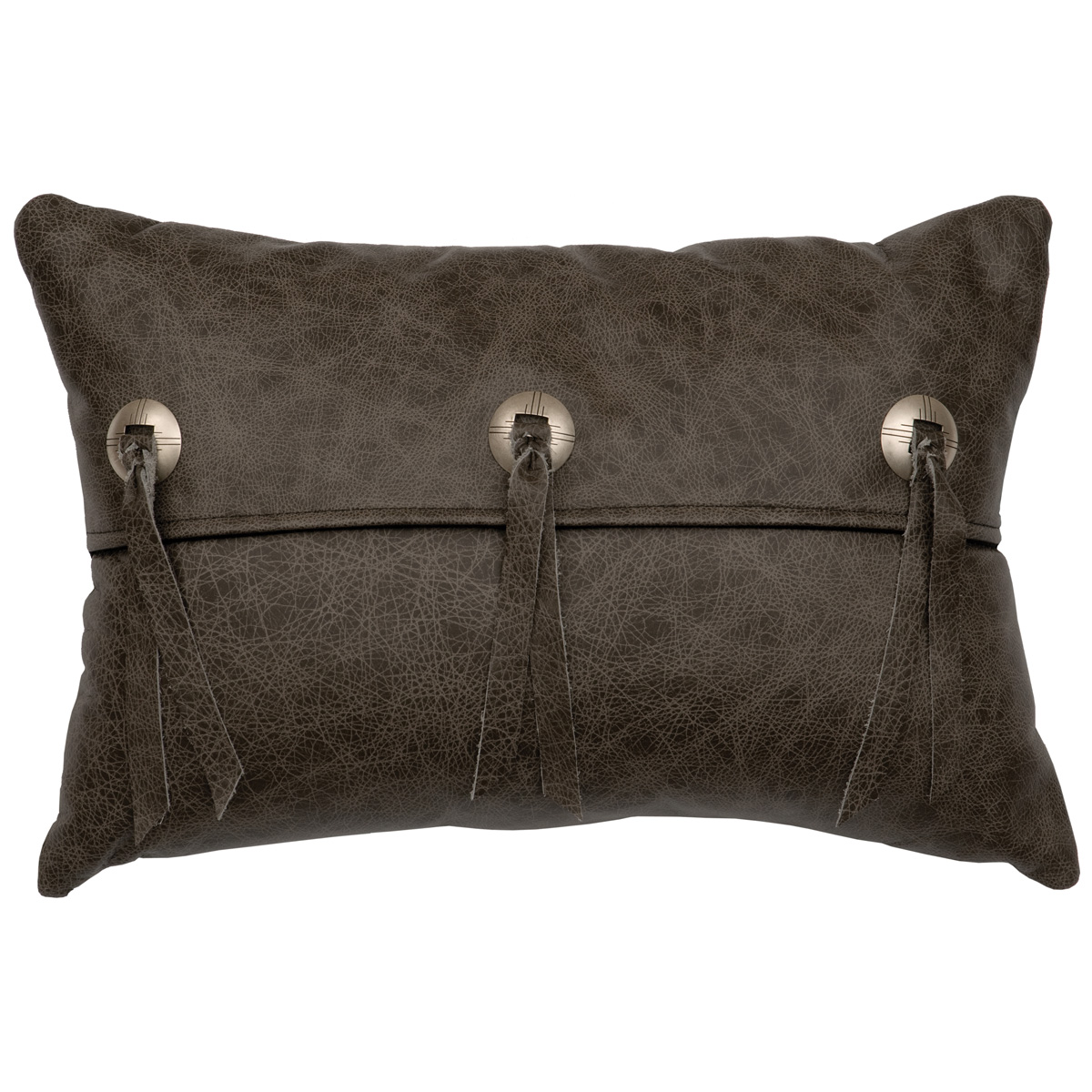 Saloon Gray Leather Flap and Concho Pillow with Fabric Back