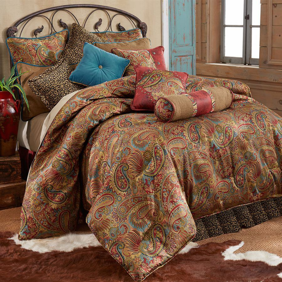 San Angelo Comforter Set with Leopard Bedskirt - Queen