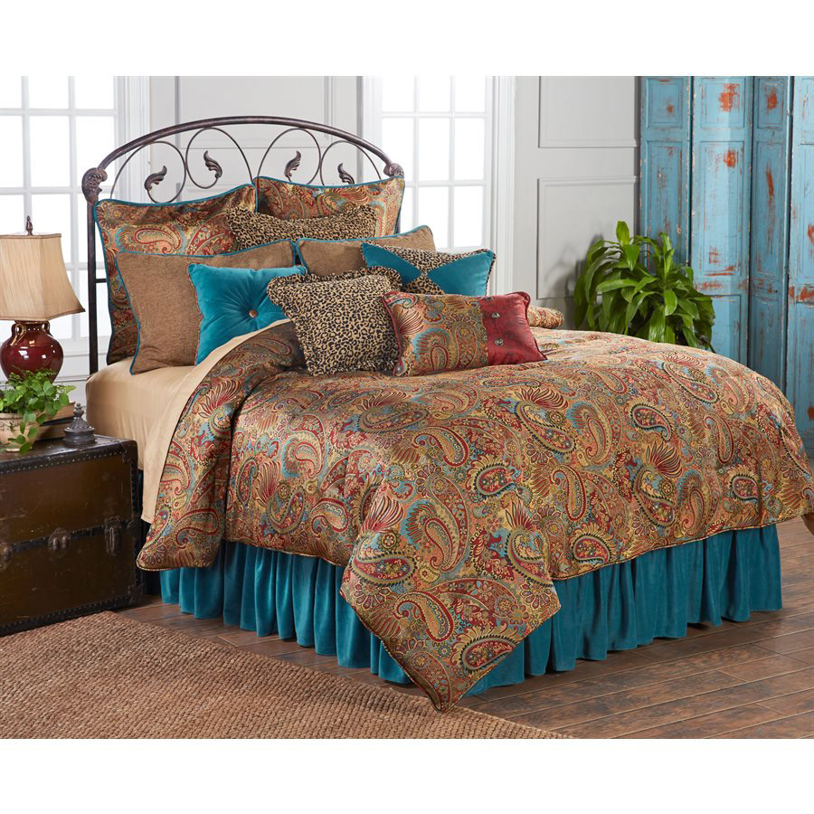 San Angelo Comforter Set with Teal Bedskirt - Queen