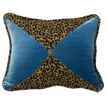 San Angelo Leopard and Teal Sectioned Pillow