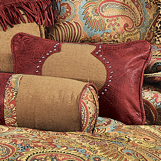 Western Bedding San Angelo Tan And Red Pillow Lone Star