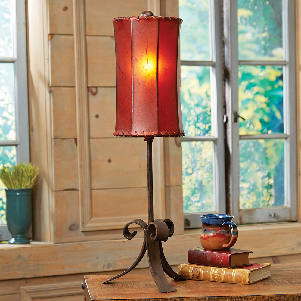 Santa Clara Accent Lamp with Rawhide Shade