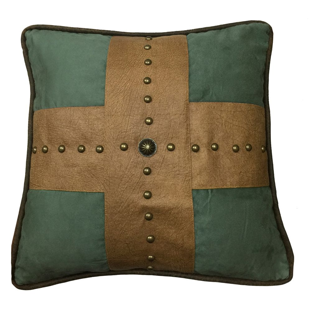 Santa Cruz Turquoise Studded Cross Pillow