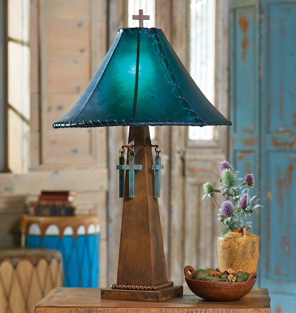 Santa Cruz Turquoise Table Lamp with Rawhide Shade