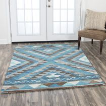 Santa Fe Blue and Taupe Rug - 5 x 7