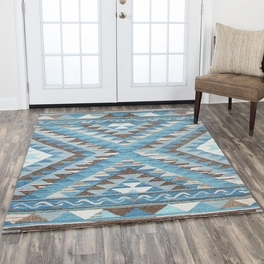 Santa Fe Blue and Taupe Rug Collection