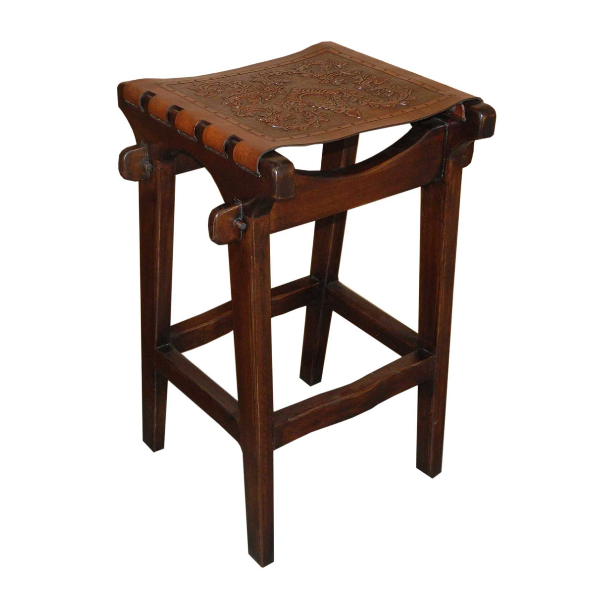 Santa Fe Counter Stool with Colonial Tooled Leather Seat