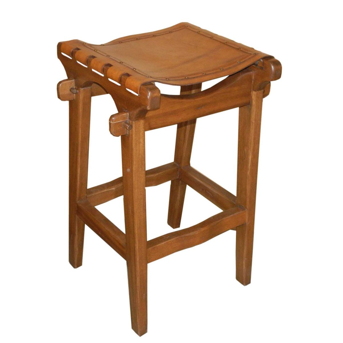 Santa Fe Rustic Brown Barstool with Nail Heads