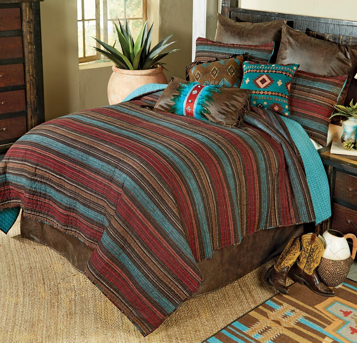 Santa Fe Stripes Quilt Set - Queen