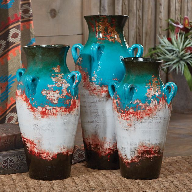 Santa Fe Teal Pottery Vases Set Of 3