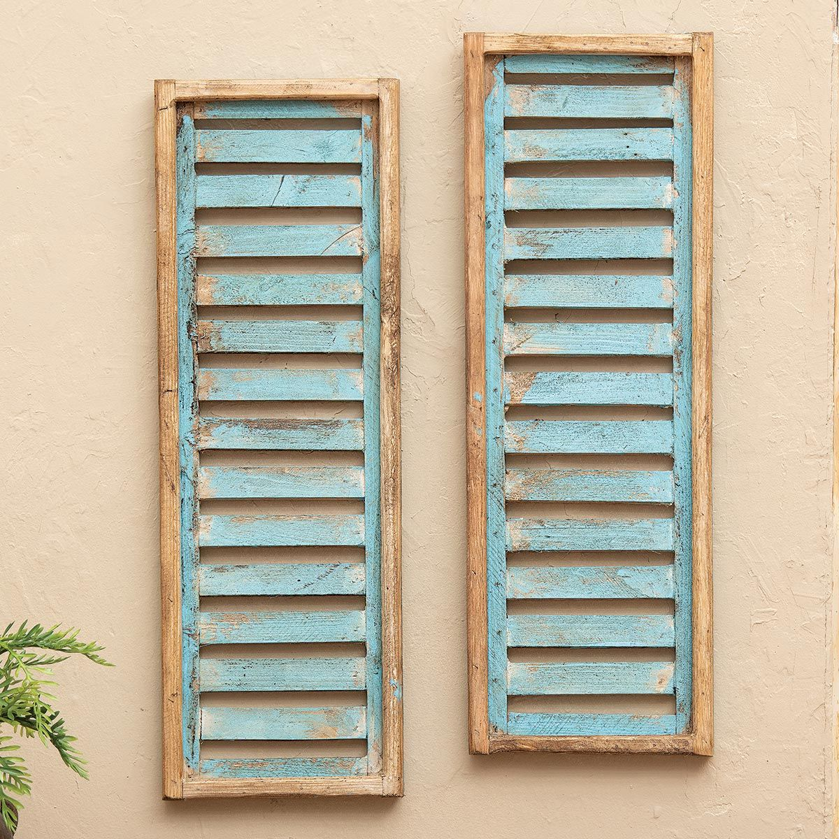 Santa Fe Turquoise Wood Shutters - Set of 2