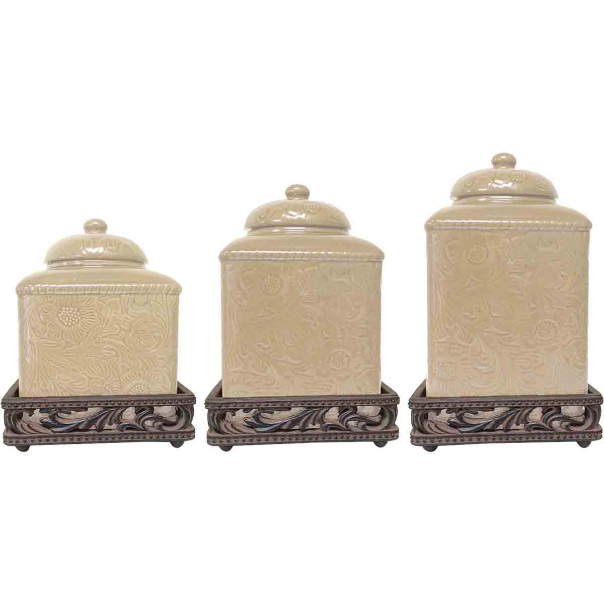 Savannah Cream Canister Set with Base - OUT OF STOCK UNTIL 2/3/2021