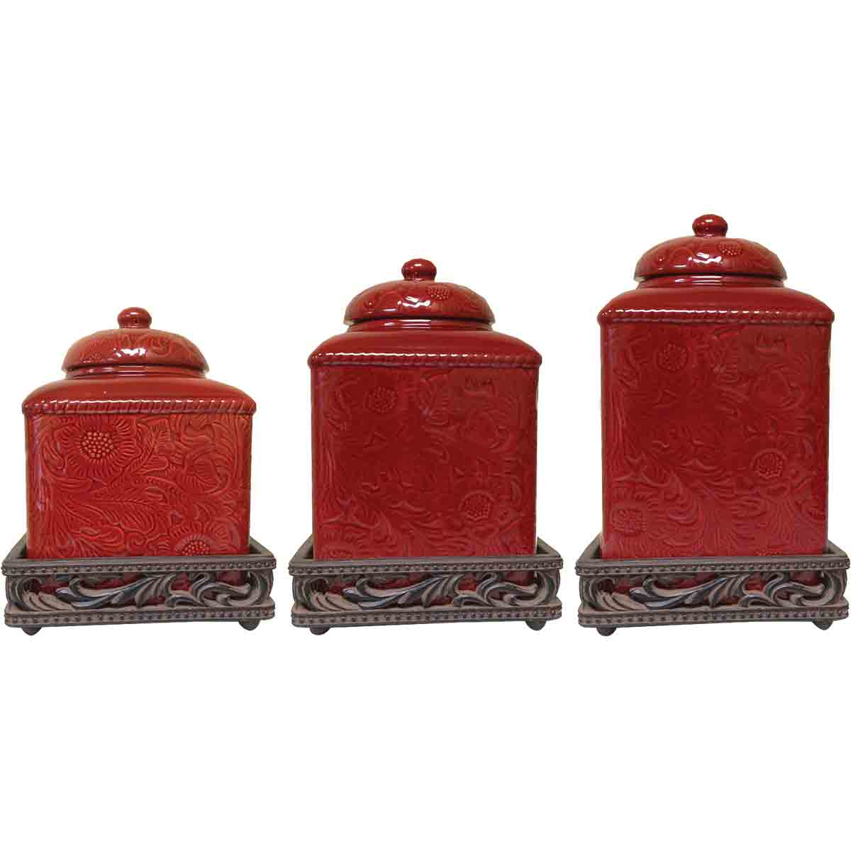 Savannah Red Canister Set with Base - OUT OF STOCK UNTIL 2/3/2021