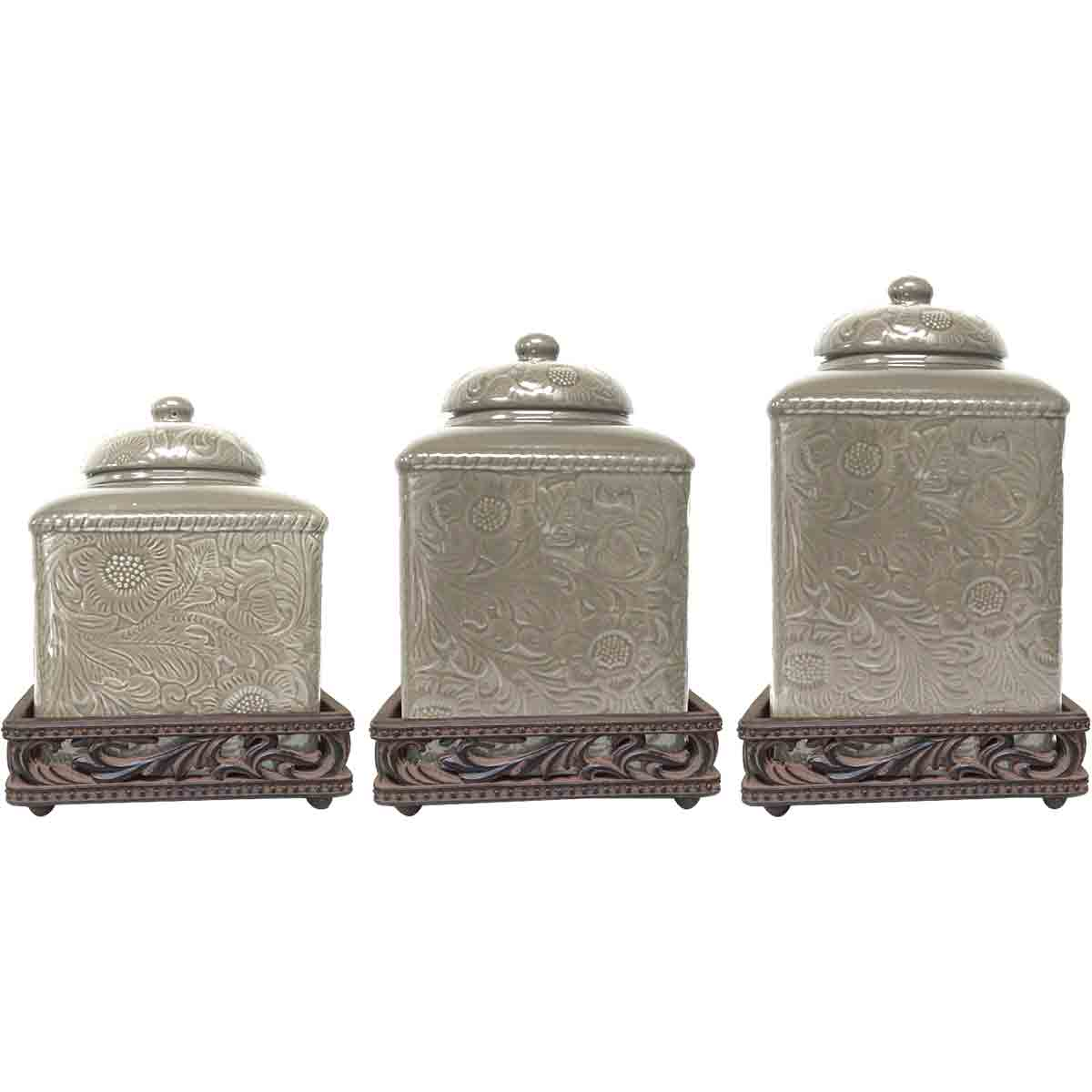 Savannah Taupe Canister Set with Base
