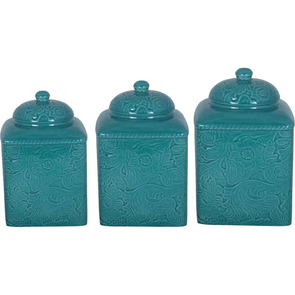 Savannah Turquoise Canister Set - 3 pcs - OUT OF STOCK UNTIL 3/5/2021